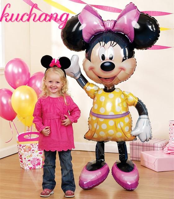 1 sztuk 116*64 cm duży stojak Mickey Minnie balony foliowe klasyczne zabawki nadmuchiwane helem balon balonik urodzinowy zaopatrzenie firm