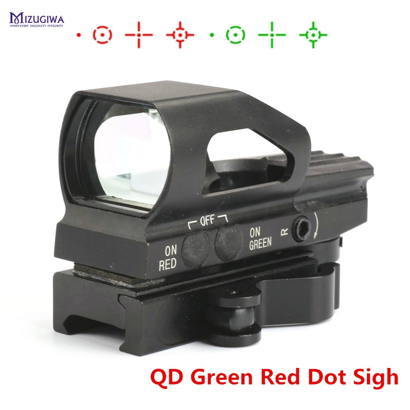 MIZUGIWA QD Quick Release Green Red Dot Sight Tactical Metal Holographic 4 Reticle Hunting Sight 20mm