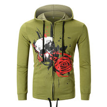 CHAMSGEND men's fashion blood color rose print long-sleeved hooded sweater loose casual zipper sweatshirt sports training couple(China)
