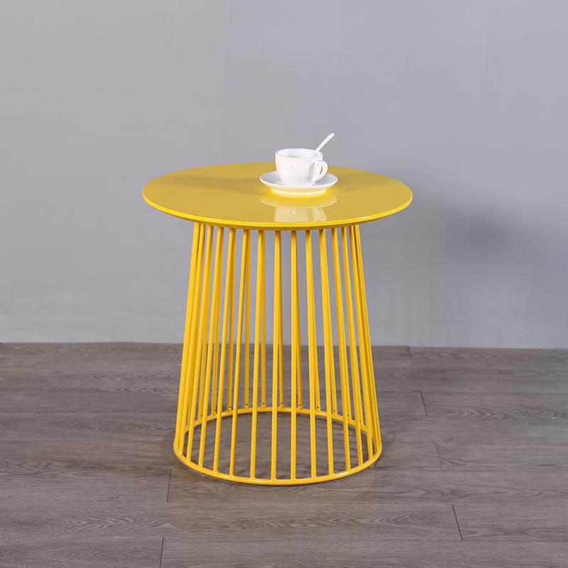 Free shipping u best Nordic Iron tea table Small Round Coffee Tables iron frame base yellow coating Bedside table
