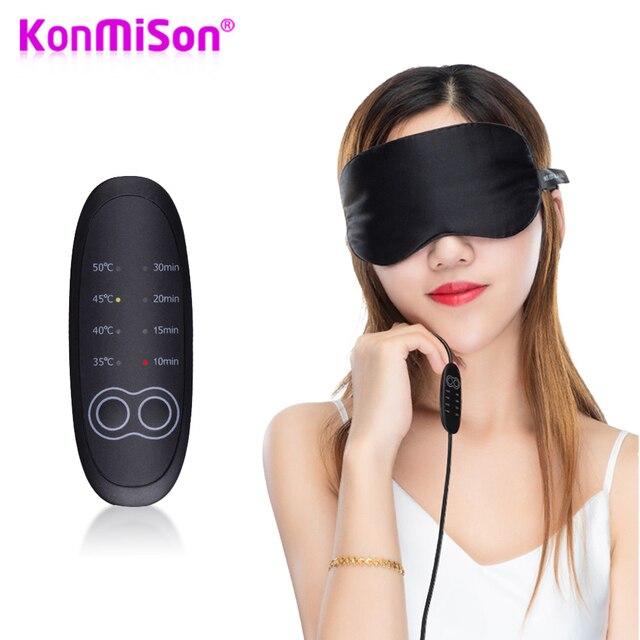Konmison USB Sıcaklık Kontrol Isı Buhar Pamuk Göz Maskesi Kuru Yorgun Kompres sıcak pedler Isıtma Göz Bakımı Masaj SPA göz bandı