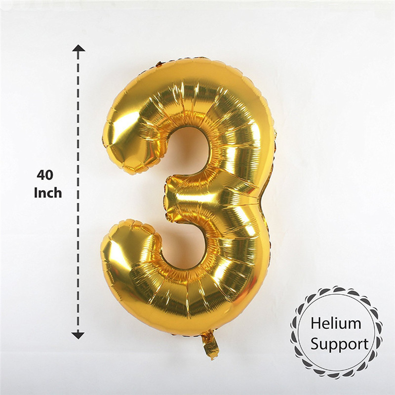 40 inch Multicolor Big Size Number Foil Helium Balloons For Birthday Party Celebration 4