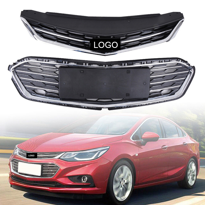 2Pcs Car Racing Grille For Chevrolet Cruze 2017 2018 Grill Emblems Radiator Chrome Mesh Horizon Front Bumper Lower Trim Modify 2pcs car racing grille for ford fiesta 2014 2015 2016 grill abs black radiator chrome front bumper upper lower modify mesh