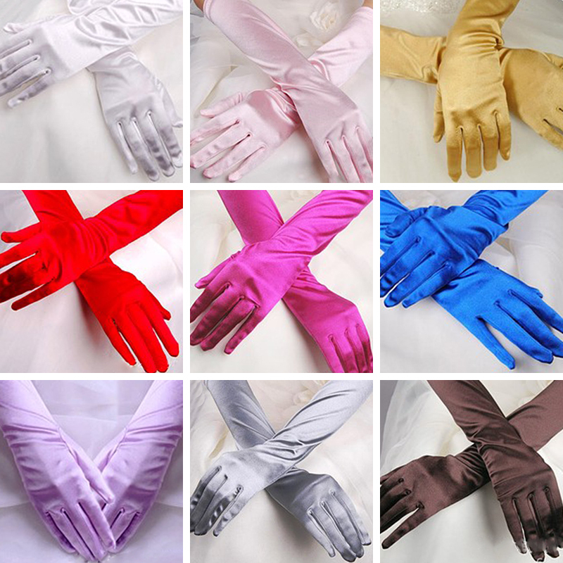 Women Chic Long Gloves Stretch Halloween Satin Gloves Evening Party Prom Gloves New