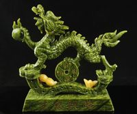 Antique collection, Pure hand carved jade dragon statue