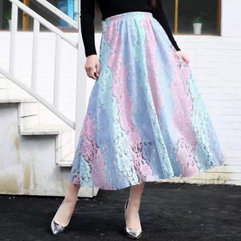 Women Lace Swing Skirts Color Block Floral A-line Rainbow Skirts Nice New Nice Casual Elegant Expansion Nice Skirts фото