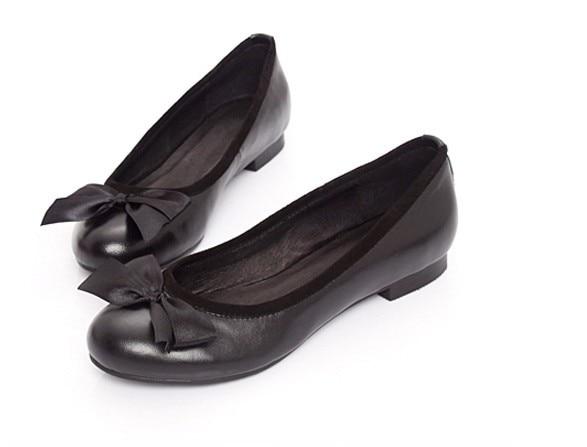 15 A Tamaño Zapatos Manual Grande Puro Cuero Bowtie Lleno Finos Cómodo Genuino 4 Cuña Señoras Personalizado Flattie Sholed Tx1qawan