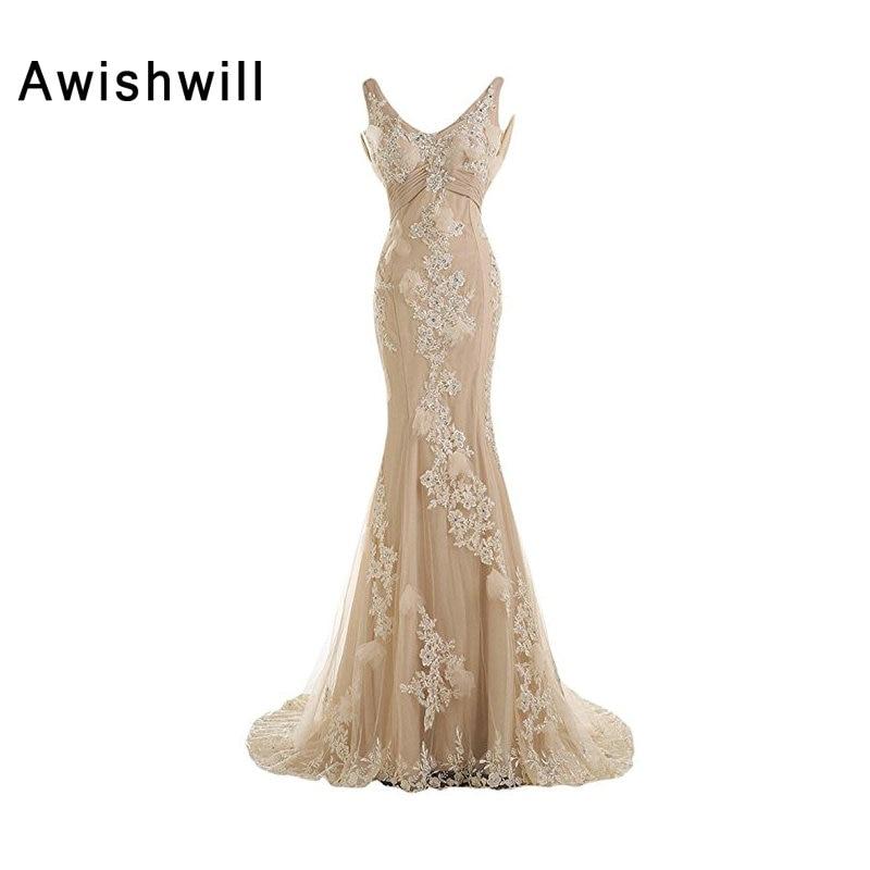 Naujo atvykimo šampano ilga suknelė vestuvių vakarėliams atviri - Ypatinga proga suknelės