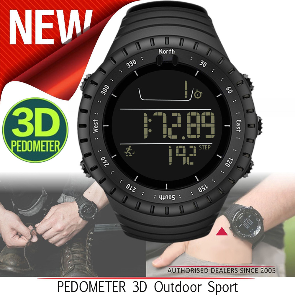 Men Watch Run Step Watch Bracelet Pedometer Calorie Counter Digital LCD Walking Distance ...