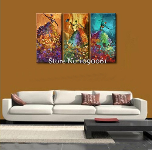 Handpainted Modern Abstract Figures Oil Paintings Women Dance Artwork 3 Piece Canvas Picture Living Room Decoration Unframed Set - Enjoy Museum store