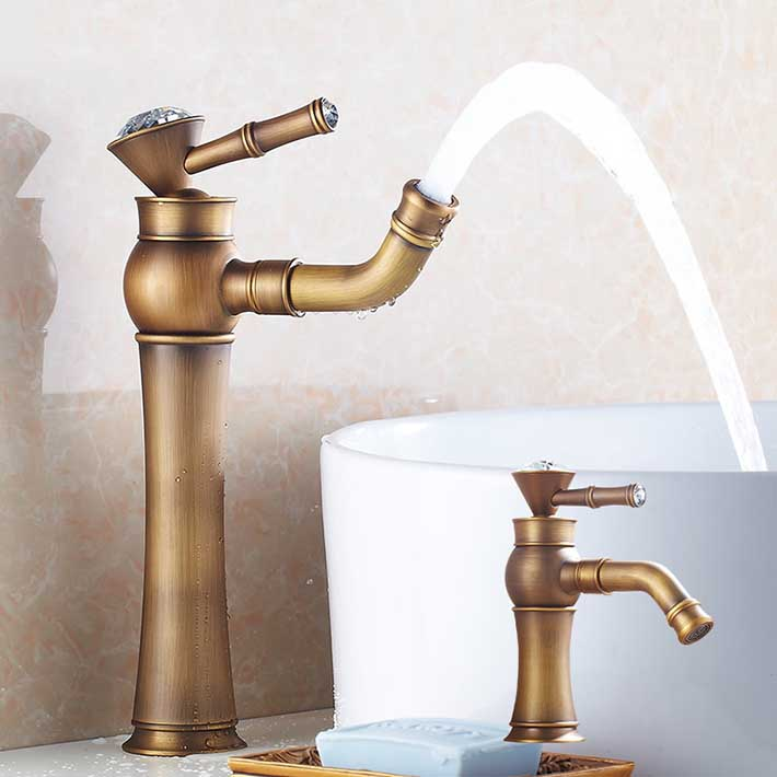 Antique Brass Bathroom Sink Faucet One Hole/Handle Lavatory Vessel Mixer Tap mitigeur salle de bainAntique Brass Bathroom Sink Faucet One Hole/Handle Lavatory Vessel Mixer Tap mitigeur salle de bain