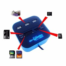 1Pcs USB 2.0 hub Combo All In One Multi-card Reader with 3 ports for MMC/M2/MS Blue Color Wholesale Promotion