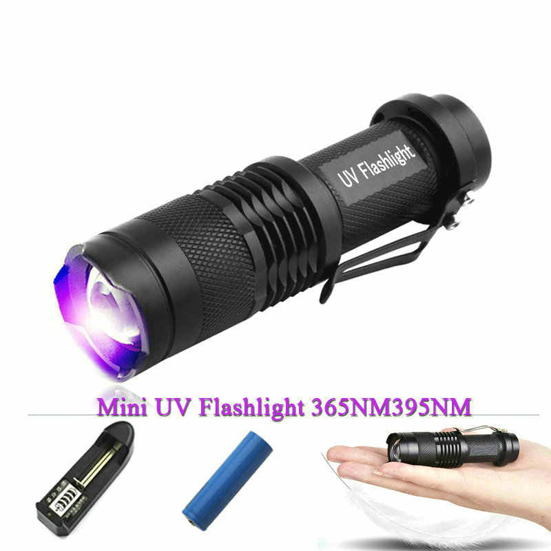 Linterna LED con zoom uv mini antorcha 365nm blacklight 395nm lámpara luz cree torcia uv carga uso 14500 batería recargable zaklamp