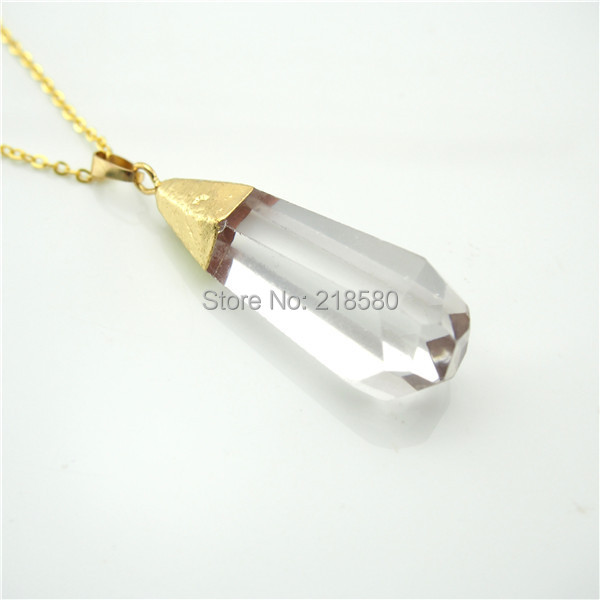 Qn246 teardrop clear crystal quartz pendant necklace gold qn246 teardrop clear crystal quartz pendant necklace gold electroplated aloadofball Gallery
