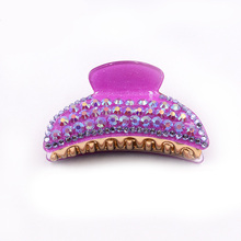 Women colorful rhinestones hair jewelry purple claws acrylic crystal beauty crab clamp Korean hairpins clips accessory
