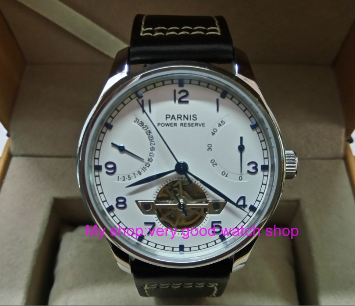43MM PARNIS ST2505 Automatic Self-Wind movement white dial power reserve men