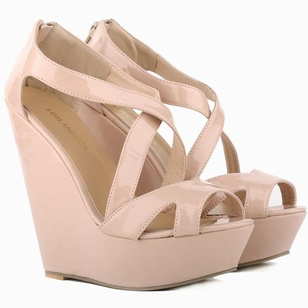LOSLANDIFEN Women Pumps Patent Platform Peep Toe Wedges High Heel Shoes Wedding SIZE US 4 11 391 10PA In Womens From On