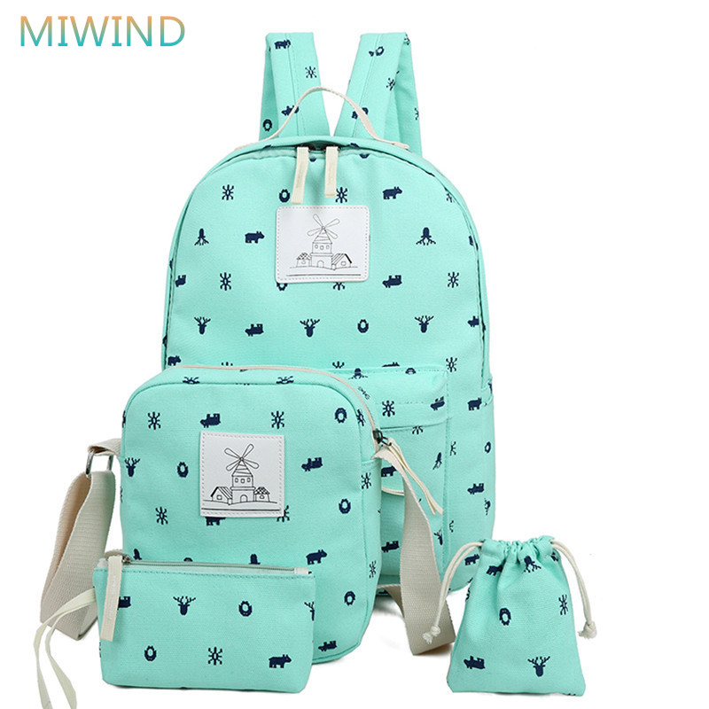 MIWIND New Preppy Style 4 pcs/set Women Printing Canvas Backpacks High Quality School Bags Rucksack Fashion Travel Bags CB209 miwind women canvas backpack fashion 4 pieces set printing school backpacks for teenage girls travel shoulder bag rucksack cb249