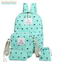 MIWIND New Preppy Style 4 Pcs Set Women Printing Canvas Backpacks High Quality School Bags Rucksack