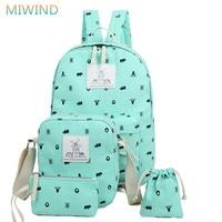 Miwind nowy preppy styl 4 sztuk/zestaw kobiety drukarnie plecaki płótnie wysokiej jakości torby szkolne plecak torby podróżne mody cb209