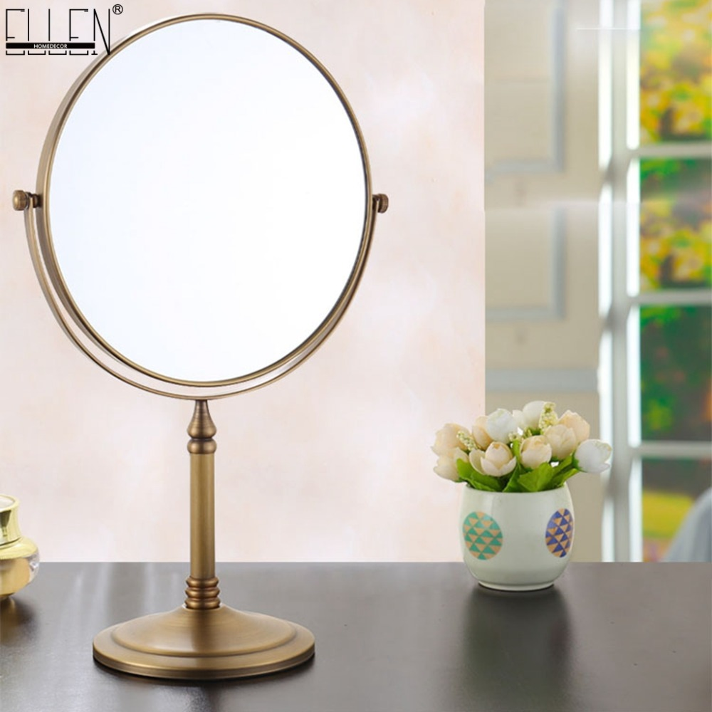 Deck Bath Mirrors 8 Inch 3X Magnification Makeup Mirror Dual Side Round Shape Rotating Desk Stand