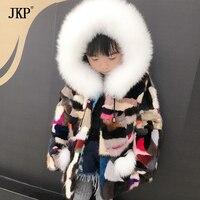 Детская зимняя реального норки пальто детей натурального меха норки Пальто и куртки Теплая куртка для маленьких девочек и мальчиков