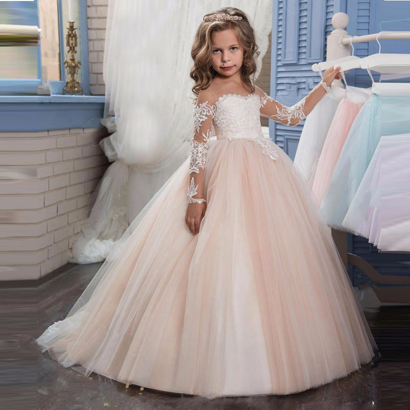 Long Sleeves Soft Tulle With Train Fashion Girls Costume Kids Evening Party Cute Princess Dress Little Bride Gown Tutu Dresses