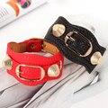 Новый женский панк стиль заклепки браслеты конфеты multicolour женщин ремень заклепки блокировка браслет супер стиль