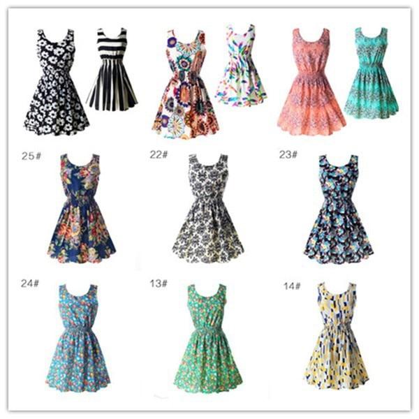 19 Summer Sundress Fashion Women Sexy Printed Chiffon Sleeveless A-line dress Beach Floral Tank Dresses 5