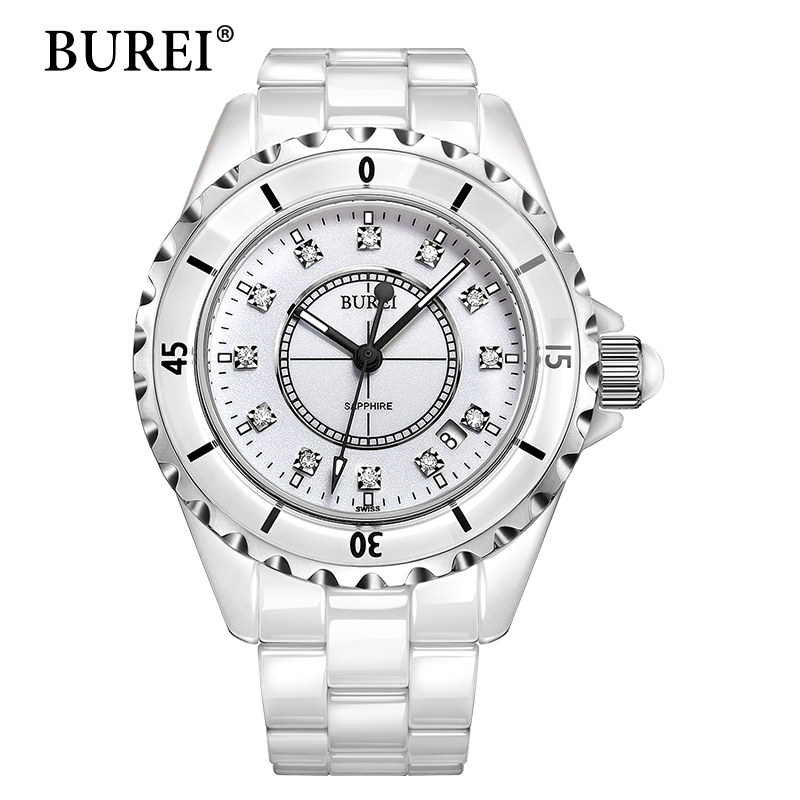 ФОТО BUREI Women Watch Top Fashion Brand High Ceramic Strap Laddies Diamond Hour Date Waterproof Quartz Wristwatches Women Day Hot