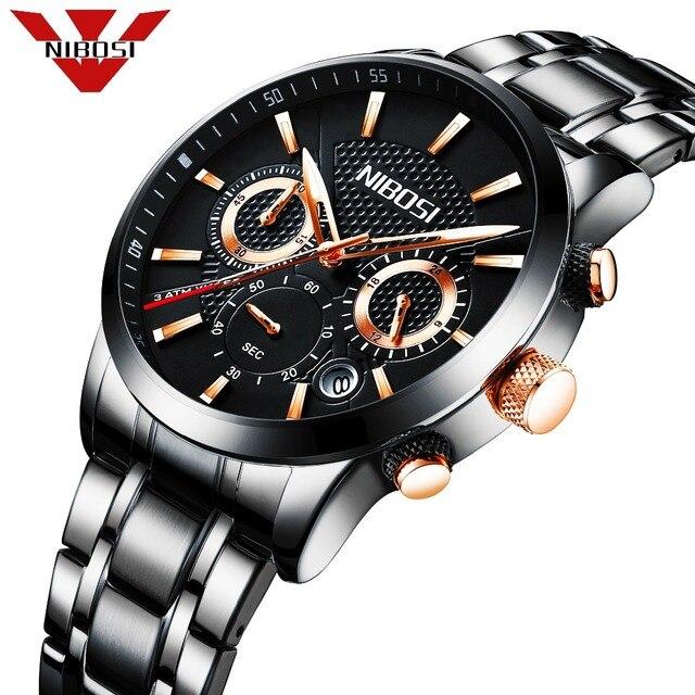10ae592c031 2018 NIBOSI Negócio da Moda Dos Homens Relógio de Luxo Da Marca Completa de  aço Relógios