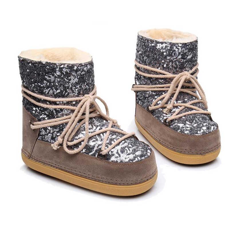 Kadın uzay çizmeler artı kaşmir sıcak payetler kadın yarım çizmeler rahat kar botları ayakkabı güvenlik ayakkabıları bayan botları k540