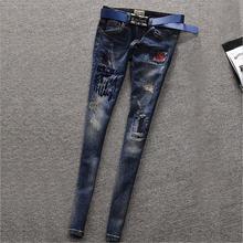 Весна и осень хлопок печати взрыв значки карандаш брюки женские джинсы Европейский станция отверстие и Эластичность джинсы w1913