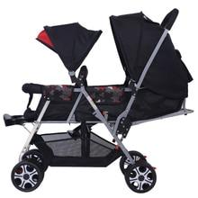 Twin Прогулочная Коляска Двухместные Коляски Легкий складной передние и задние сиденья тележки Двойной корзину