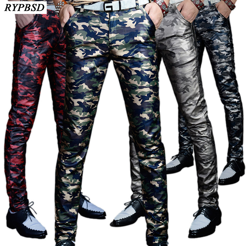 Proljeće 2018 Scenske predstave Singer uske PU kožne hlače Muškarci Casual vojske vojne Camuflage hlače Muškarci Slim Fit hlače