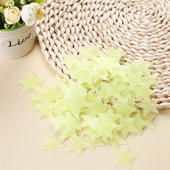 100pcs Luminous Wall Stickers Glow In The Dark Stars Sticker Decals for Kids Baby rooms Colorful Fluorescent Stickers Home decor - Green