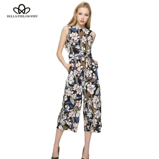 e5979f6549e Bella Philosophy 2017 spring summer jumpsuit Women floral print high waist  jumpsuit sleeveless wide leg jumpsuit