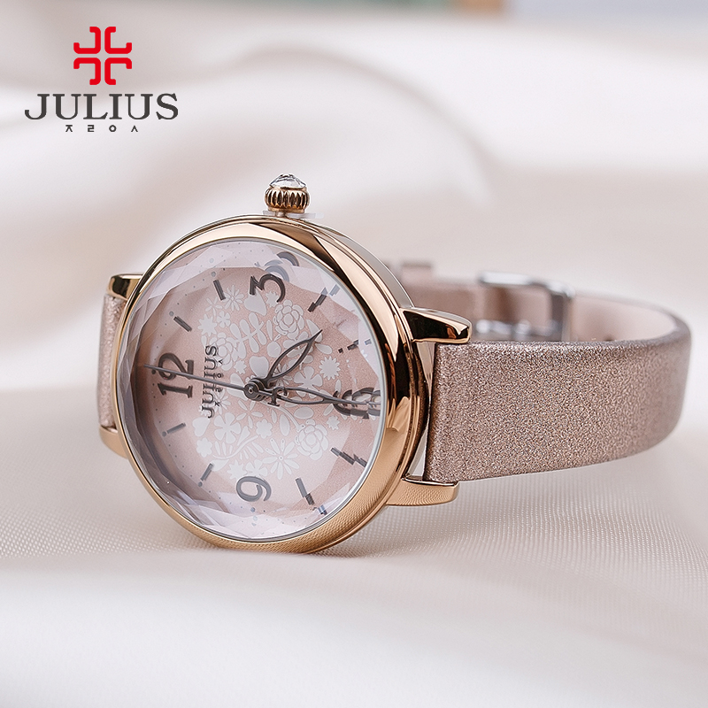 New Lady Women's Watch Japan Mov Retro Hours Fine Fashion Dress Bracelet Leather Cutting Girl Birthday Gift Julius  929 new simple cutting glass women s watch japan quartz hours fashion dress stainless steel bracelet birthday girl gift julius box