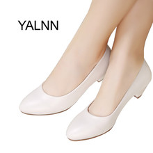 YALNN Fashion New 3cm heels Shoes Office Lady Dress Pumps Women Shoes Black Mature Women High Heels Zapatos Pumps(China)