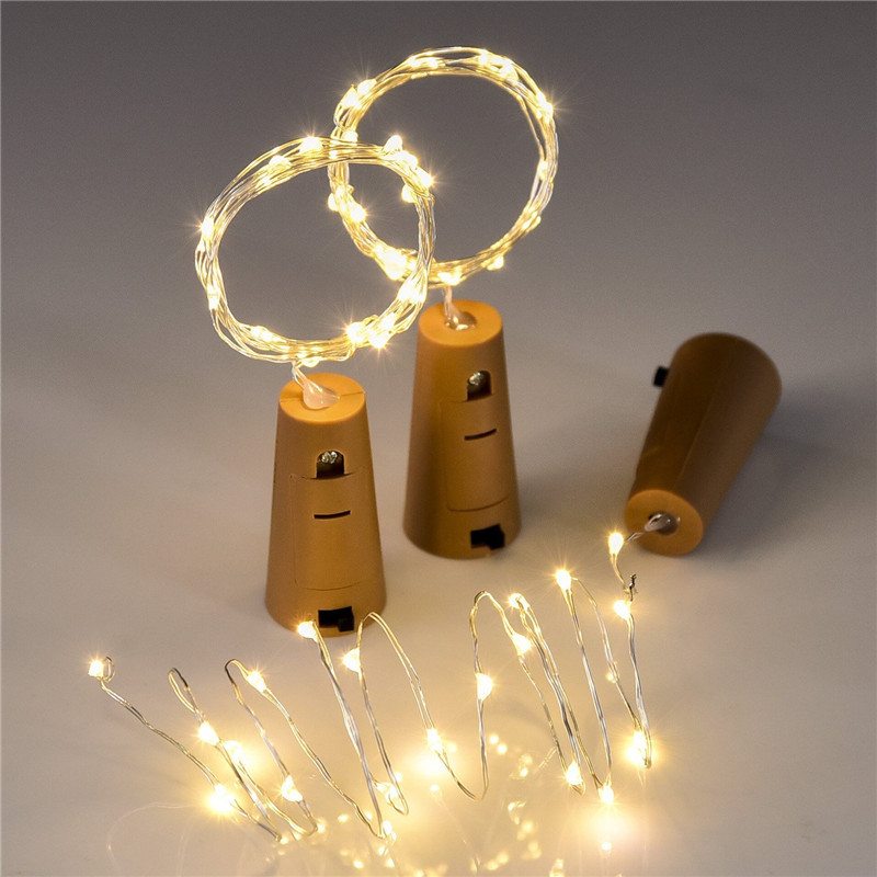 LED Bottle Light 2M Battery Operated Silver Wire Garland Rope Fairy String Lights Party Xmas Decor Wine Bottle Stopper Cork Lamp