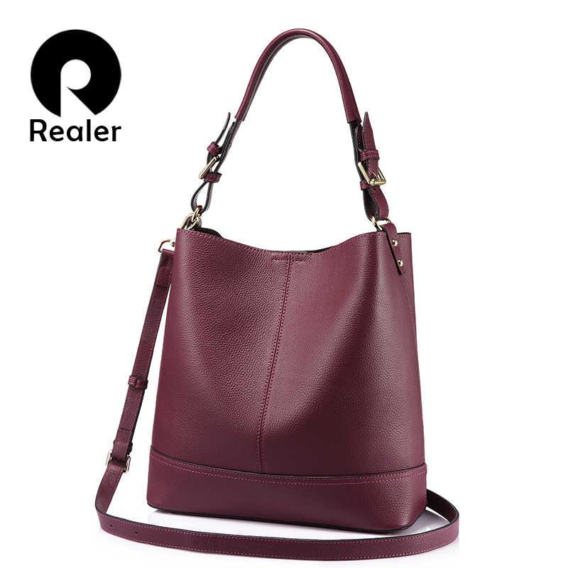 603d75e2af47 REALER бренд модная мягкая женская сумка ведро из натуральной кожи большого  объёма с съёмным карманом,