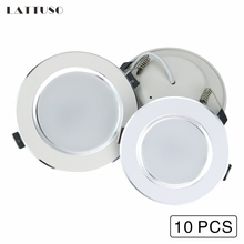 LATTUSO 10 pcs 3W 5W 7W 9W 12W LED Downlight AC 220V 240V Recessed Round LED Lamp Light Indoor Lighting Warm White Cold White недорого