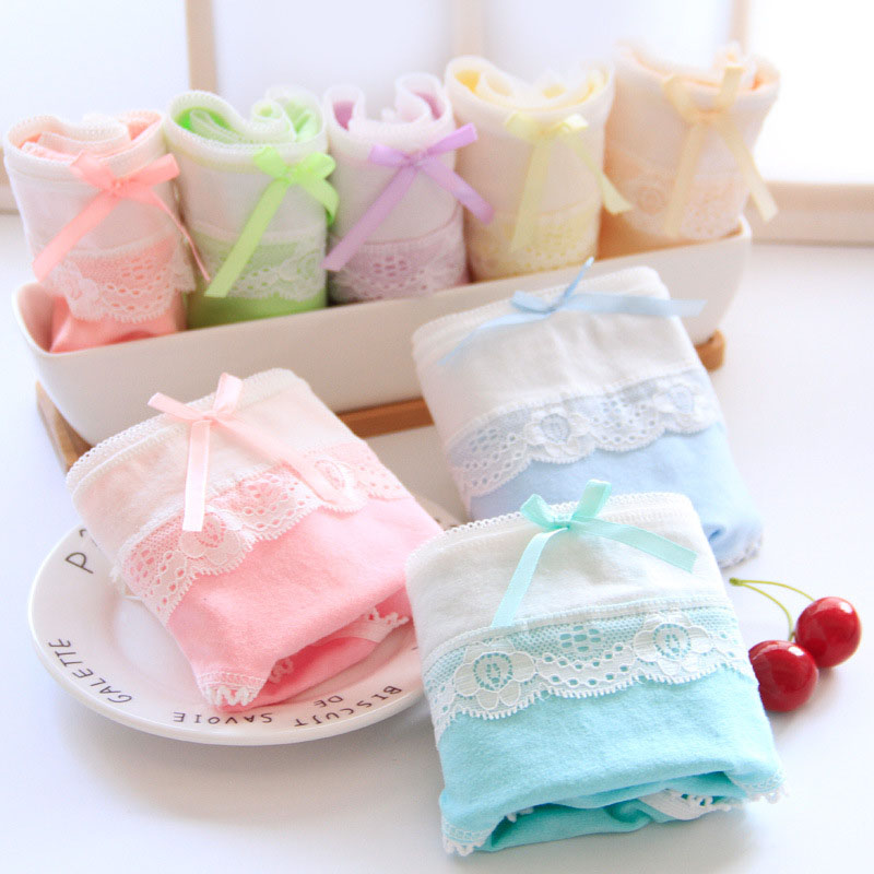 QUECOO 5pcs/lots Combination set cute sexy candy color underwear cotton comfortable womens underwear pants #113