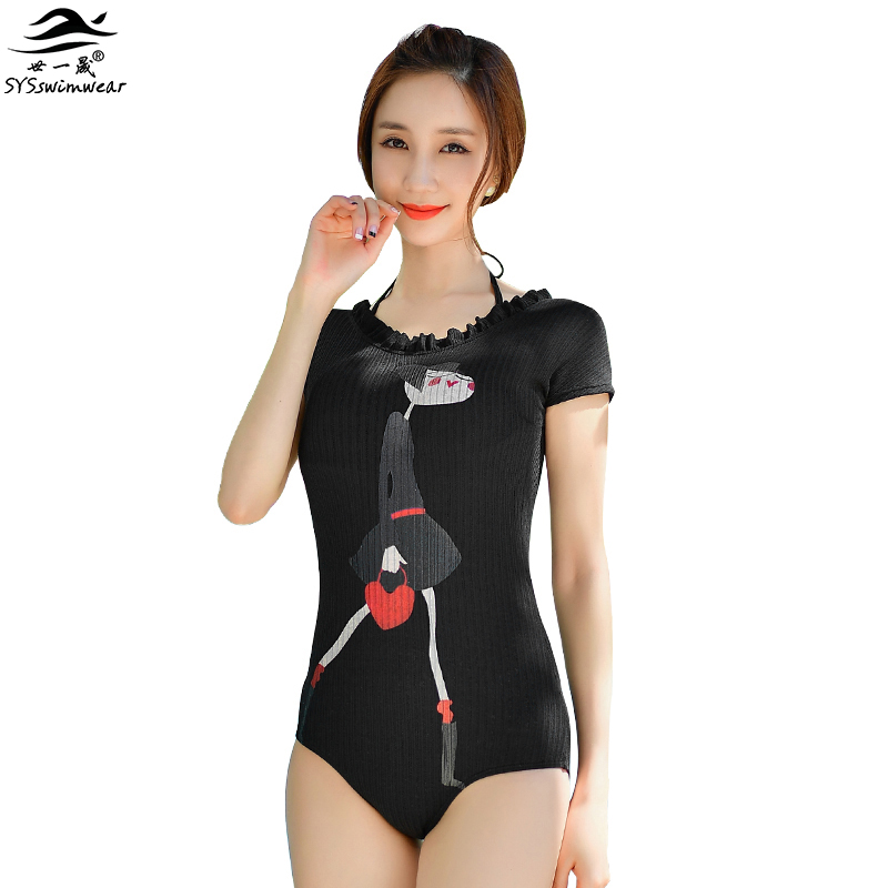 High Quality Cartoon Backless Lovely Women One Pieces Swimwear Sexy Black Swimsuit With Sleeves Bow-knot Push Up Bathing Suit new hot sexy high quality two zipper japanese sukumizu school swimsuit one pieces slimming swimsuit women bathing suit with pad