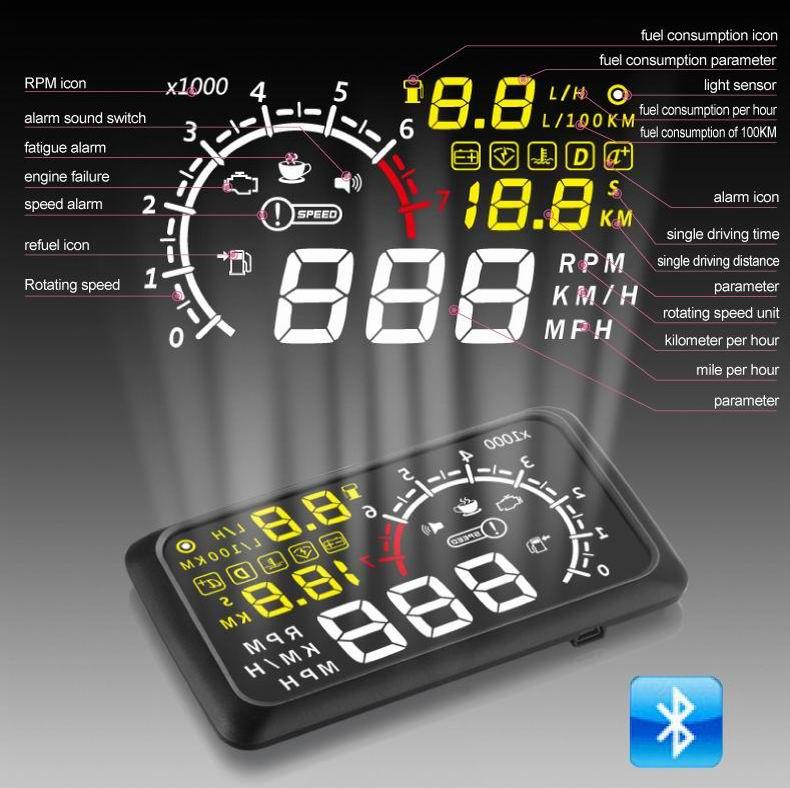 5 5 Inch OBD2 Automotive Heads up Display X3 Black Car Electronics Products Bluetooth connection