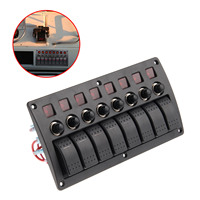 Mgoodoo 3 PIN 8 Gang Rocker Switch Panel Circuit Breakers Red Led 12V 24V Marine Boat Motor Overload Protected Car Switch Panel
