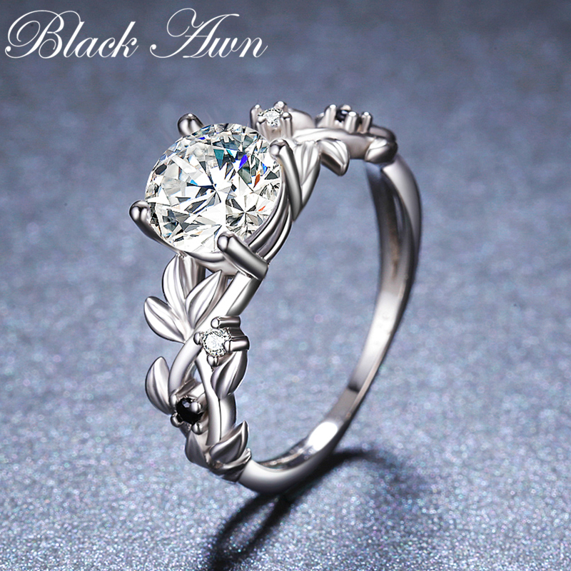 2019 New Fower 925 Sterling Silver Fine Jewelry Engagement Black Spinel Round Engagement  Ring For Women Anillos Mujer G089