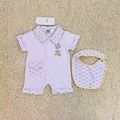 2 Color Baby Romper toddlers indiana Cartoon little duck lapels short sleeves jumpsuits +bib set wholesale