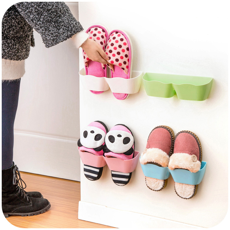 Wall Hanging Shoes Storage Holder Plastic Racks Stand Store Cabinet Door Shelter Household Living Room Rack