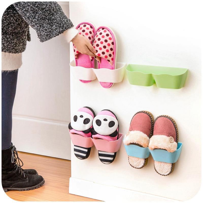 Wall Hanging Shoes Storage Holder Plastic Racks Stand Store Cabinet Door  Shelter Household Living Room Rack